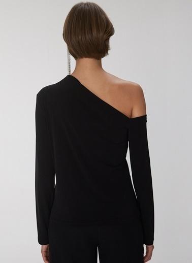 People By Fabrika Tek Omuzlu Bluz Siyah